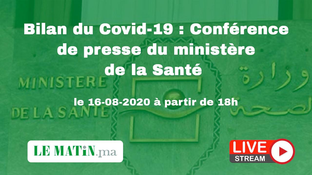 Live : Bilan du #Covid-19 : Point de presse du ministère de la Santé (16-08-2020)