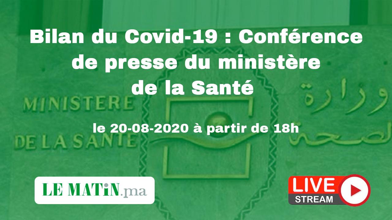 Live : Bilan du #Covid-19 : Point de presse du ministère de la Santé (20-08-2020)