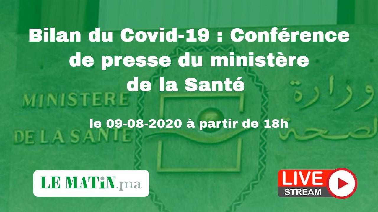 Live : Bilan du #Covid-19 : Point de presse du ministère de la Santé (09-08-2020)