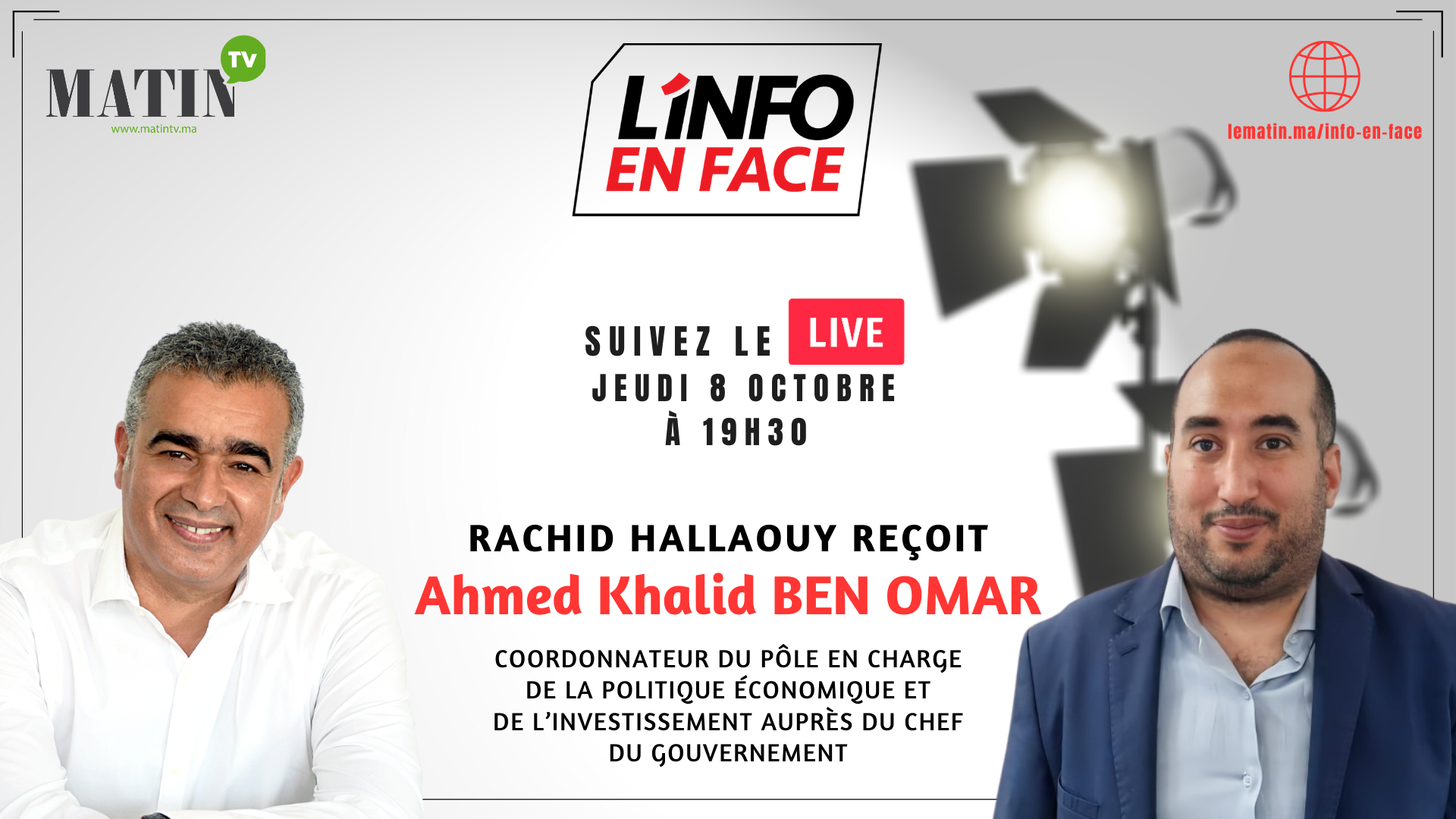Live : L'Info en Face éco avec Ahmed Khalid Ben Omar