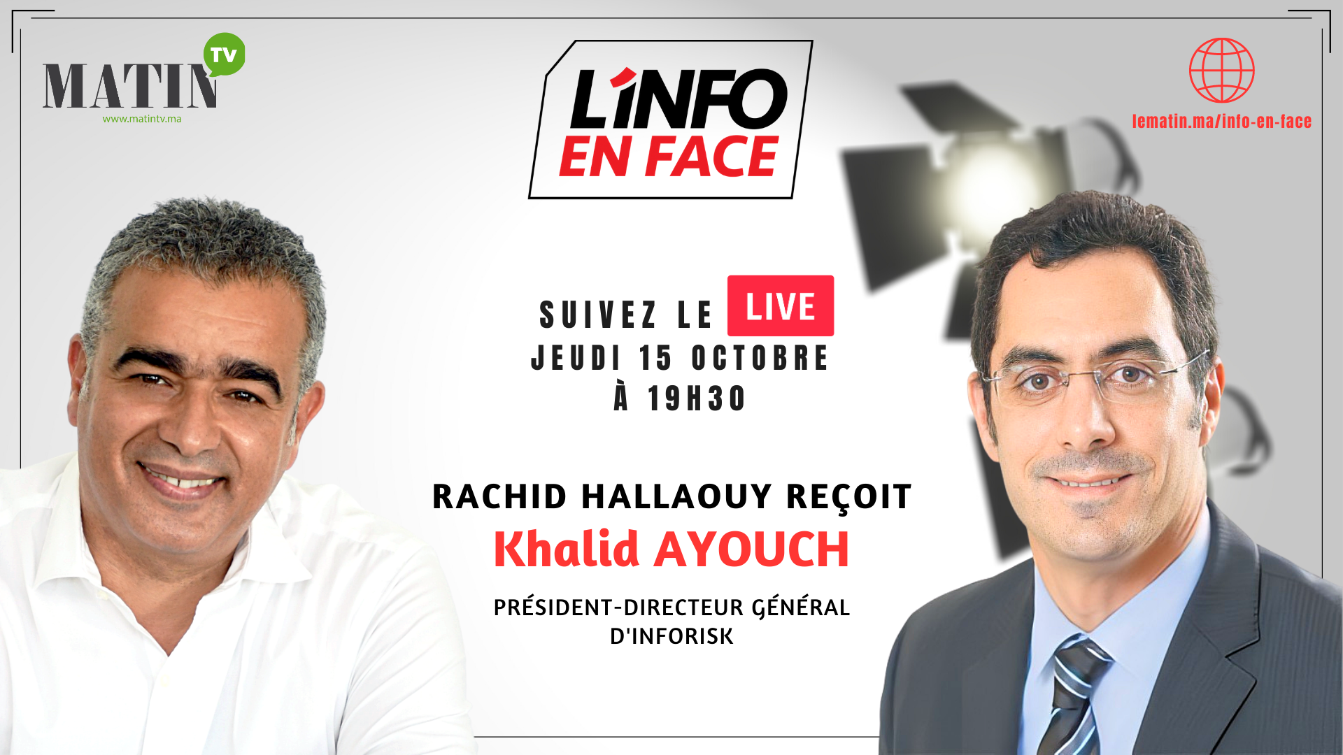 Live : L'Info en Face éco avec Khalid Ayouch