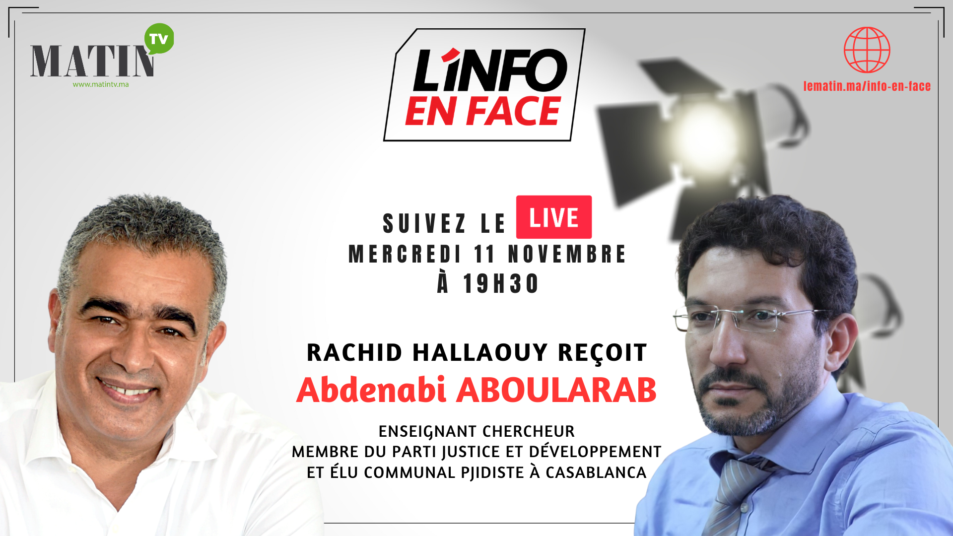 Live : L'Info en Face avec Abdenabi Aboularab
