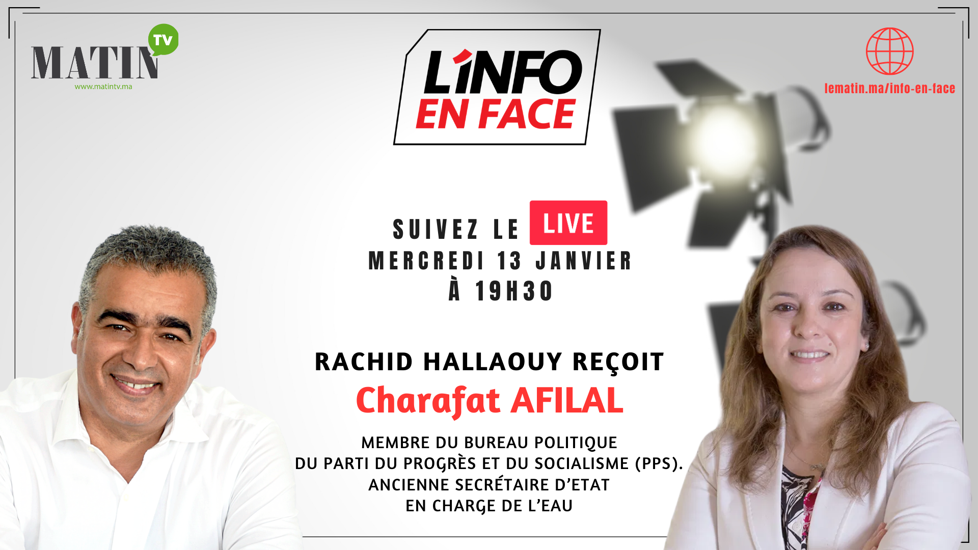 Live : L'Info en Face avec Charafat Afilal