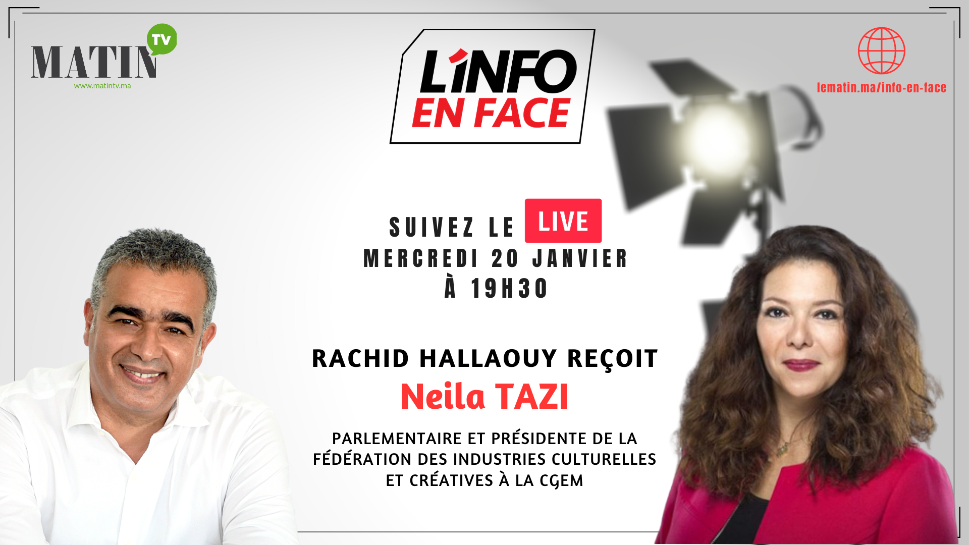 Live : L'Info en Face avec Neila Tazi