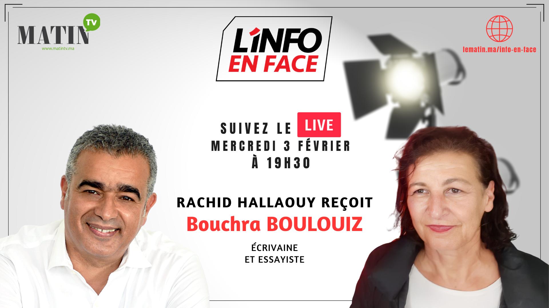 Live : L'Info en Face avec l'écrivaine Bouchra Boulouiz