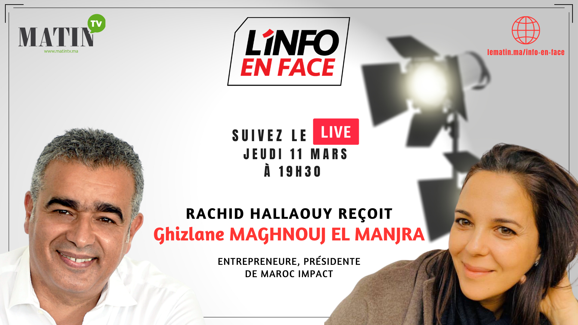 Live : L'Info en Face éco Ghizlane Maghnouj El Manjra